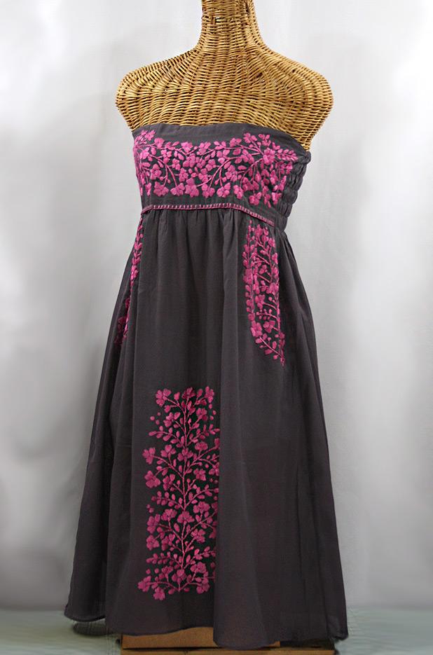 "60% Off Final Sale ""La Mallorca"" Embroidered Strapless Sundress - Dark Grey + Pink"
