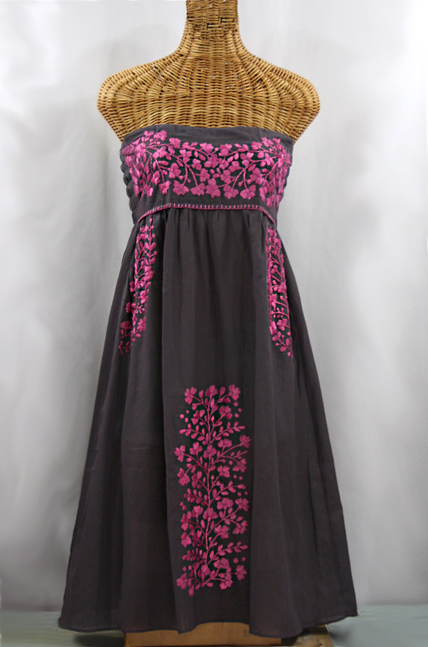 """La Mallorca"" Embroidered Strapless Sundress - Dark Grey + Pink"
