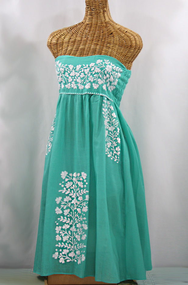 "60% Off Final Sale ""La Mallorca"" Embroidered Strapless Sundress - Mint + White"