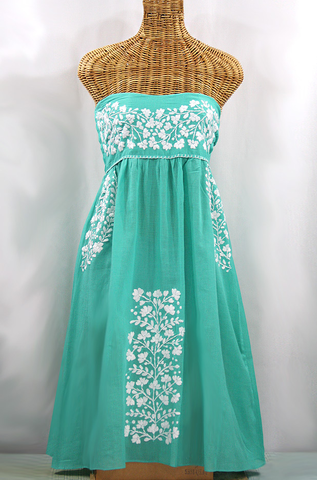 """La Mallorca"" Embroidered Strapless Sundress - Mint + White"