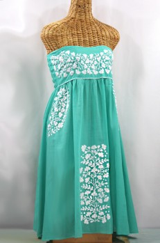 "60% Off Final Sale ""La Mallorca"" Embroidered Strapless Sundress - Mint + White"