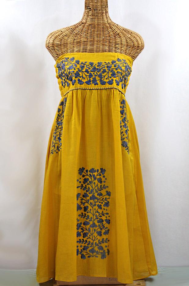 """La Mallorca"" Embroidered Strapless Sundress - Mustard + Grey"