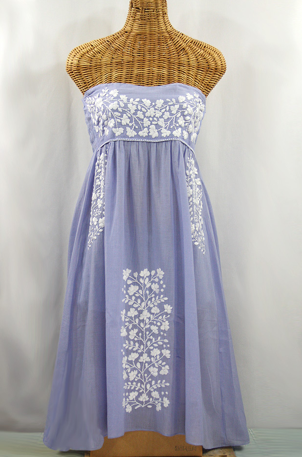 """La Mallorca"" Embroidered Strapless Sundress - Periwinkle + White"