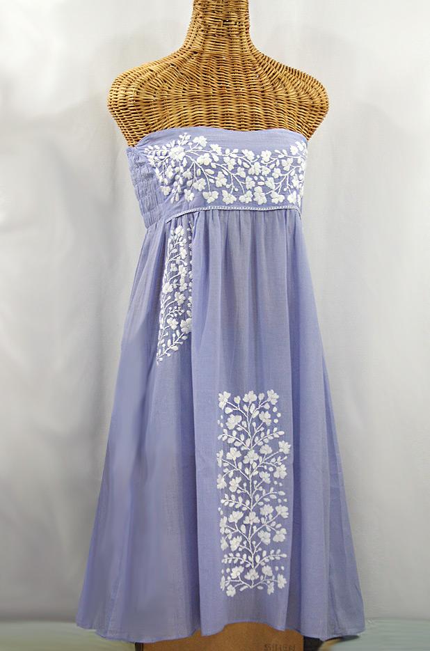 """La Mallorca"" Embroidered Strapless Sundress - Periwinkle + White"