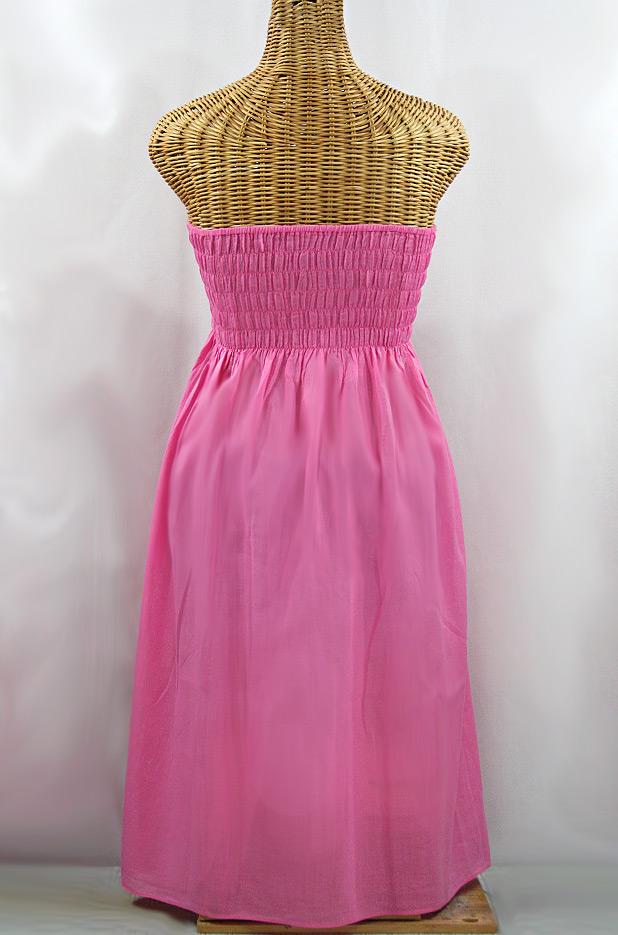 """La Mallorca"" Embroidered Strapless Sundress - Pink + Mint"