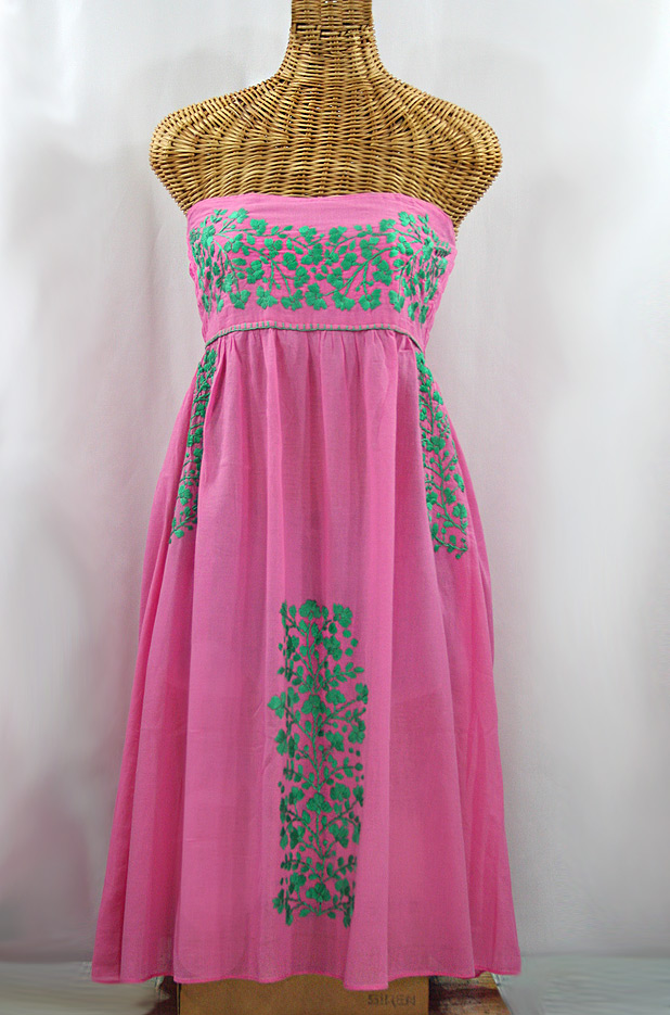 """La Mallorca"" Embroidered Strapless Sundress - Pink + Mint"