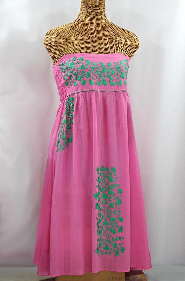 "60% Off Final Sale ""La Mallorca"" Embroidered Strapless Sundress - Pink + Mint"