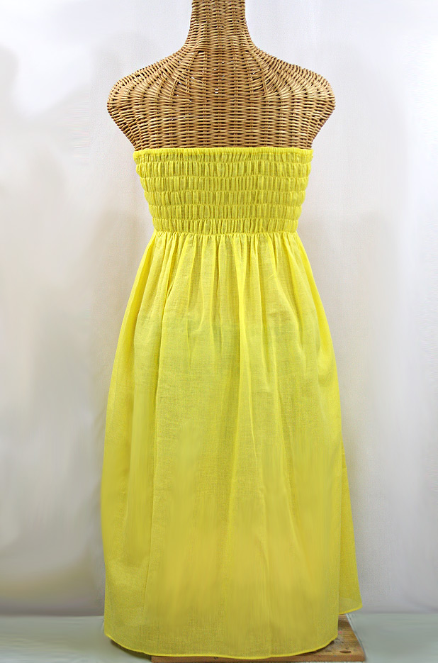 "Final Sale 60% Off -- ""La Canaria"" Embroidered Strapless Sundress - Yellow + Magenta"