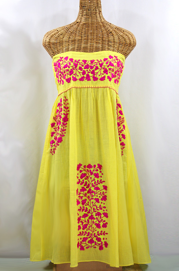 """La Mallorca"" Embroidered Strapless Sundress - Yellow + Magenta"