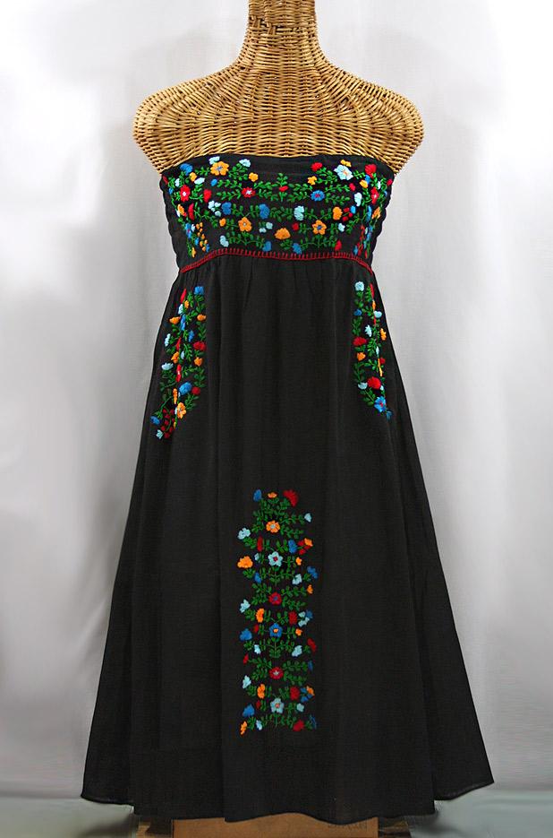 """""""La Marbella"""" Embroidered Strapless Sundress - Black + Multi"""
