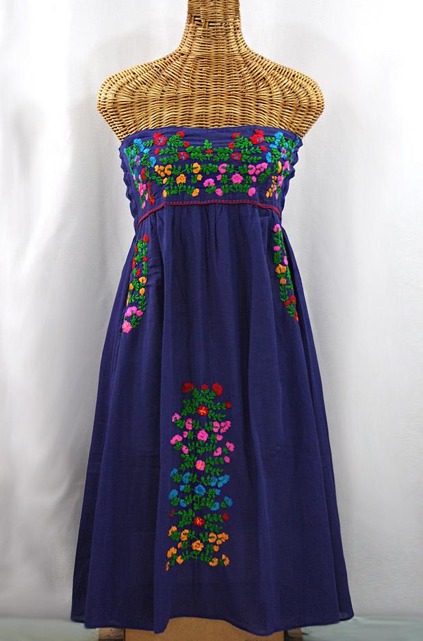 """""""La Marbella"""" Embroidered Strapless Sundress - Denim + Multi"""