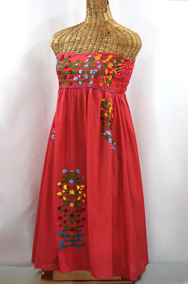 """""""La Marbella"""" Embroidered Strapless Sundress - Tomato Red + Multi"""