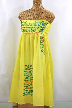 "60% Off Final Sale ""La Marbella"" Embroidered Strapless Sundress - Yellow + Multi"