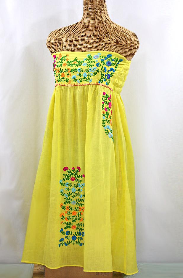 "60% Off Final Sale ""La Marbella"" Embroidered Strapless Sundress - Yellow + Multi"