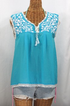 """La Marbrisa"" Sleeveless Mexican Blouse -Aqua + White"