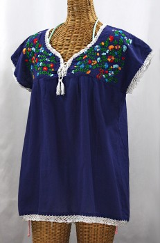 """La Marbrisa"" Cap Sleeve Mexican Blouse -Denim Blue + Fiesta"