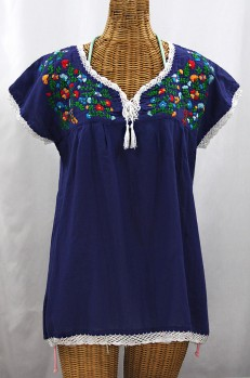 """La Marbrisa"" Cap Sleeve Mexican Blouse -Denim Blue + Fiesta"