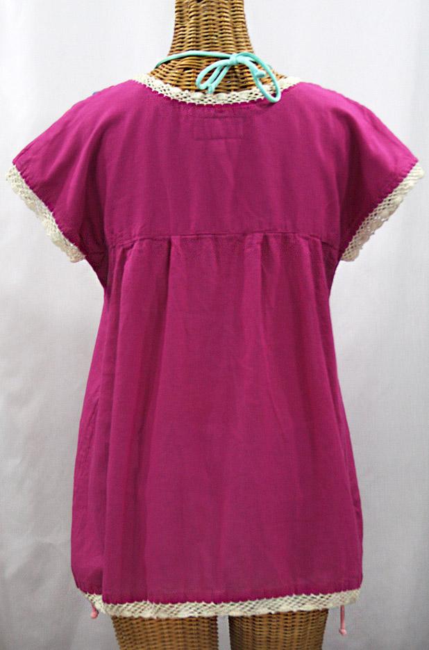 """La Marbrisa"" Cap Sleeve Mexican Blouse -Fuchsia Pink + Fiesta"