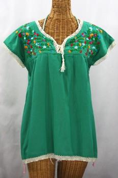 """La Marbrisa"" Cap Sleeve Mexican Blouse -Green + Fiesta"