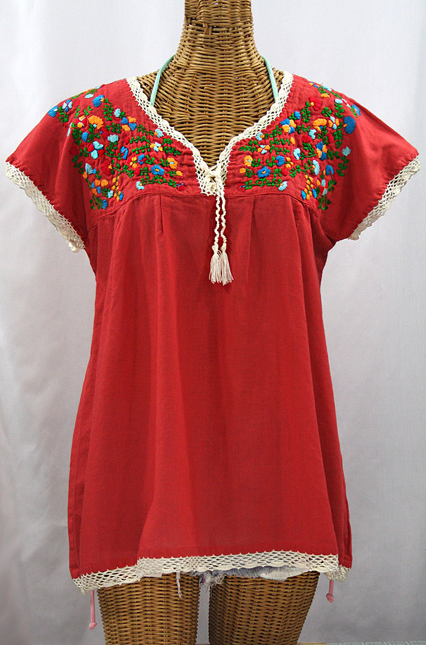 """La Marbrisa"" Cap Sleeve Mexican Blouse -Tomato Red + Fiesta"