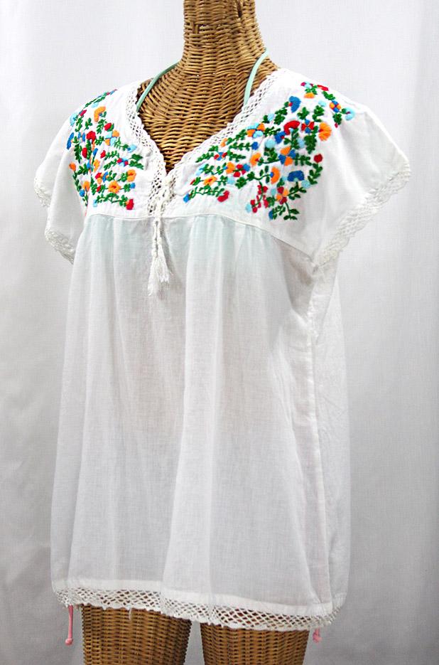 """La Marbrisa"" Cap Sleeve Mexican Blouse -White + Fiesta"