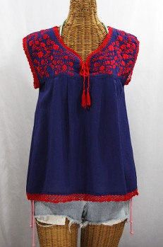 """""""La Marbrisa"""" Sleeveless Mexican Blouse -Denim + Red Embroidery"""