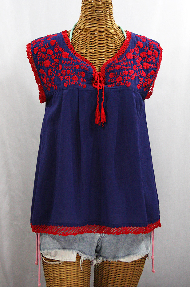 """La Marbrisa"" Sleeveless Mexican Blouse -Denim + Red Embroidery"
