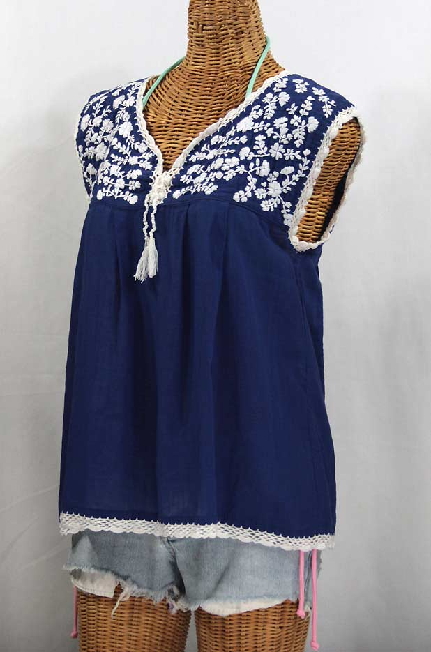 """La Marbrisa"" Sleeveless Mexican Blouse -Denim + White Embroidery"