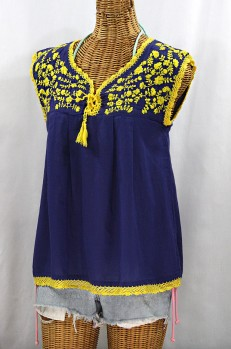 """Final Sale 40% Off -- """"La Marbrisa"""" Sleeveless Mexican Blouse -Denim + Yellow Embroidery"""