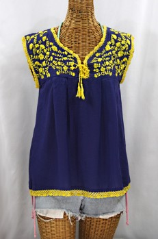 """La Marbrisa"" Sleeveless Mexican Blouse -Denim + Yellow Embroidery"