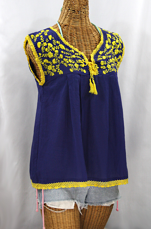 "Final Sale 40% Off -- ""La Marbrisa"" Sleeveless Mexican Blouse -Denim + Yellow Embroidery"