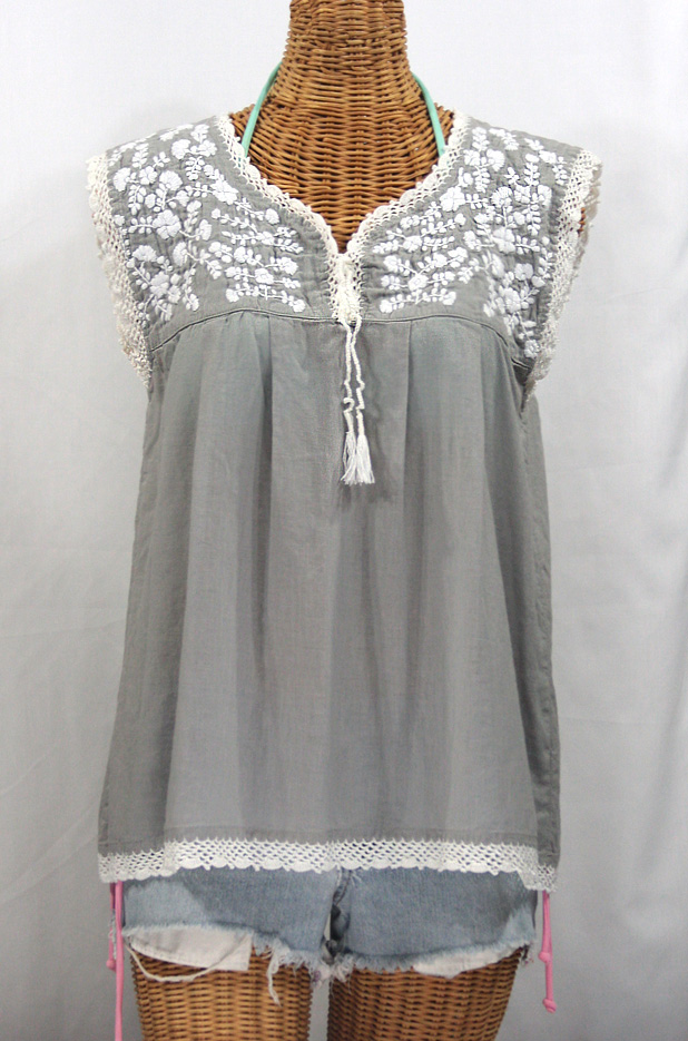 """La Marbrisa"" Sleeveless Mexican Blouse -Grey + White"
