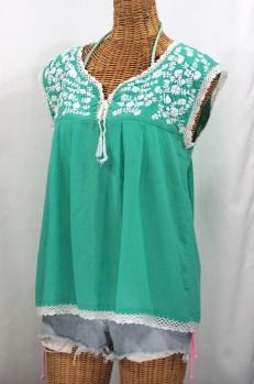 """La Marbrisa"" Sleeveless Mexican Blouse -Mint + White"