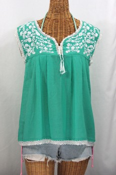 """La Marbrisa"" Sleeveless Mexican Blouse -Mint + White"