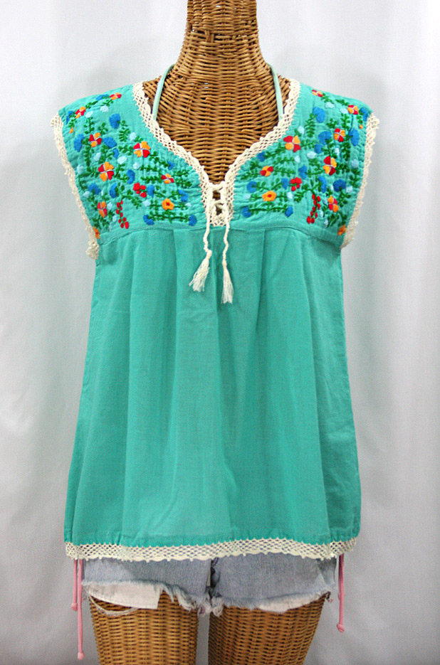 """La Marbrisa"" Embroidered Mexican Sleeveless Peasant Blouse Top -Mint + Fiesta"