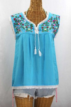"""La Marbrisa"" Sleeveless Mexican Blouse -Aqua + Multi"