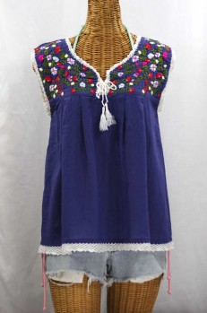 """La Marbrisa"" Sleeveless Mexican Peasant Blouse -Denim Blue + Multi"