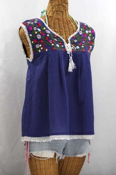 """La Marbrisa"" Sleeveless Mexican Peasant Blouse -Denim Blue + Multi"