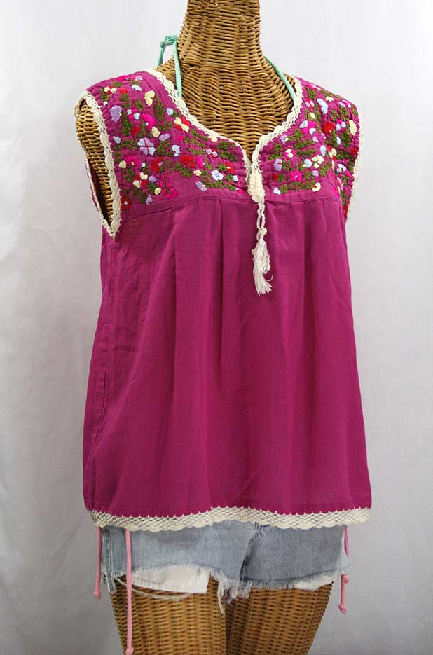 """La Marbrisa"" Sleeveless Mexican Blouse -Fuchsia + Multi"