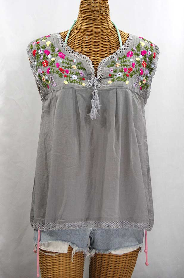 """La Marbrisa"" Sleeveless Mexican Blouse -Grey + Multi"