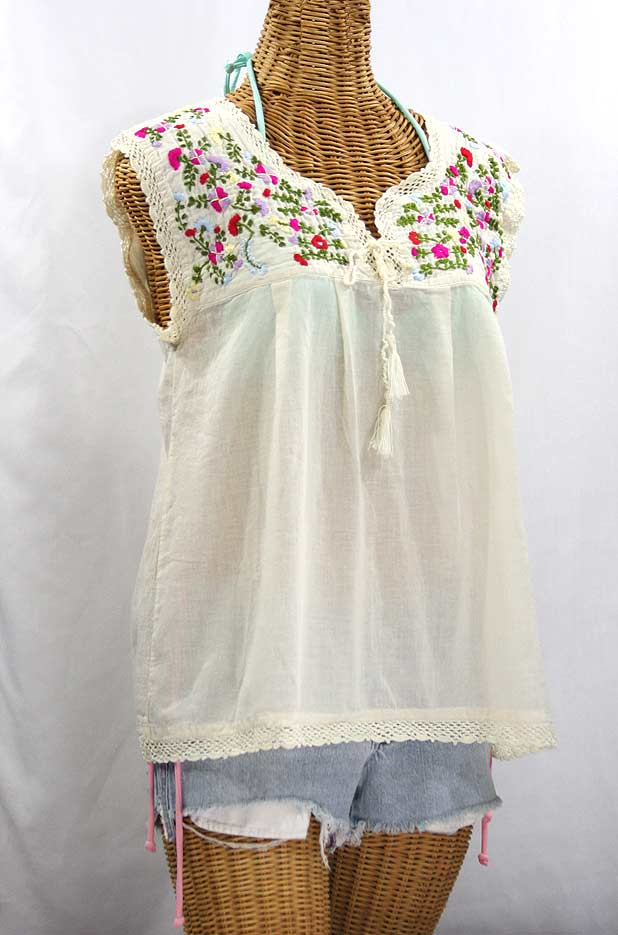 White Fitted Peasant Blouse 106