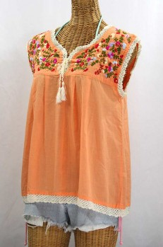 """La Marbrisa"" Sleeveless Mexican Blouse -Orange Cream + Multi"