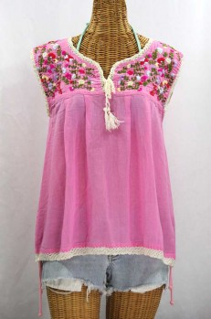 """La Marbrisa"" Sleeveless Mexican Blouse -Bubblegum Pink + Multi"
