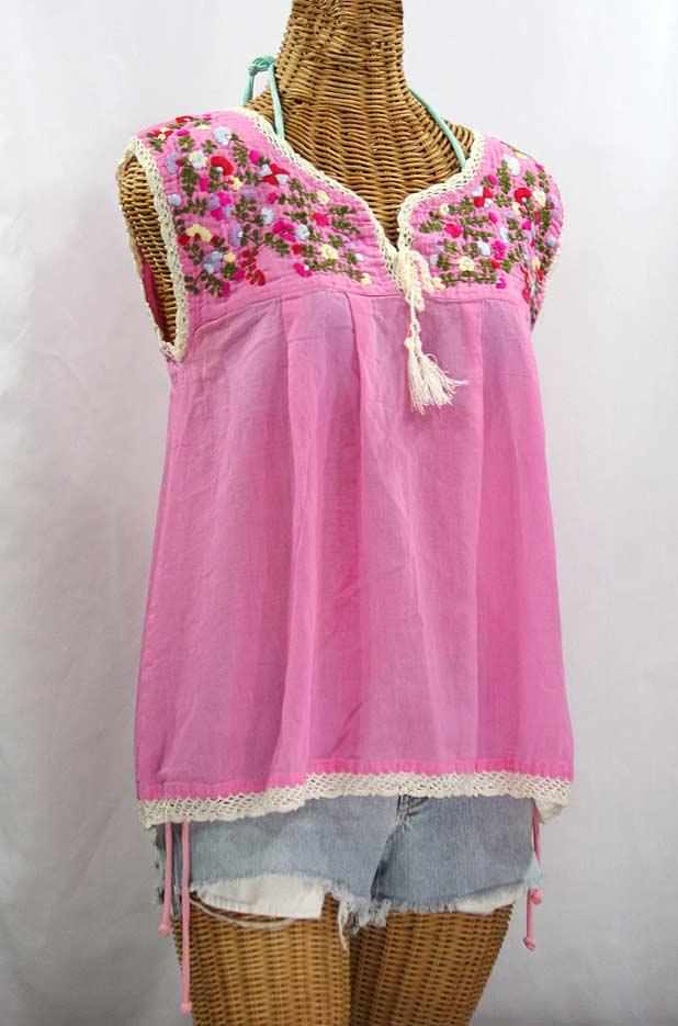 """La Marbrisa"" Sleeveless Mexican Blouse -Bubblegum Pink + Multi"