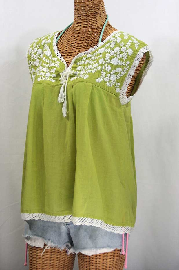 """La Marbrisa"" Sleeveless Mexican Blouse -Moss + White Embroidery"