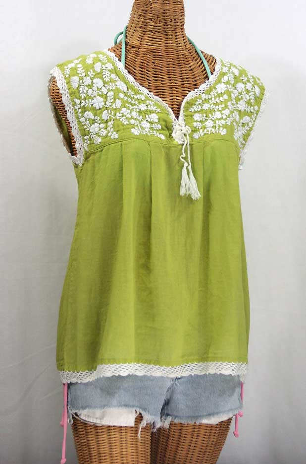 """""""La Marbrisa"""" Sleeveless Mexican Blouse -Moss + White Embroidery"""