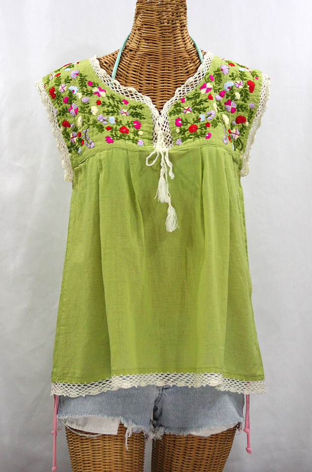 """La Marbrisa"" Embroidered Sleeveless Peasant Blouse Top - Moss Green + Multi"