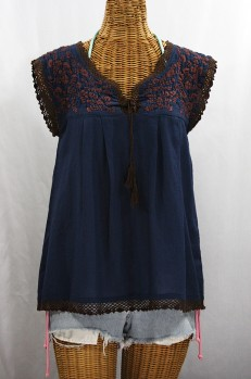 """La Marbrisa"" Sleeveless Mexican Blouse -Navy Blue + Brown"