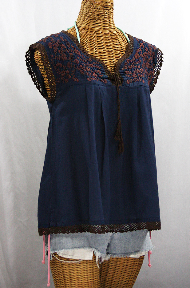 """La Marbrisa"" Sleeveless Mexican Blouse -Navy Blue + Brown"