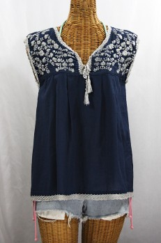 "Final Sale 40% Off -- ""La Marbrisa"" Sleeveless Mexican Blouse -Navy Blue + Grey"